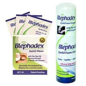 Blephadex wipes and foam with tea tree oil for treatment of blepharitis and demodex